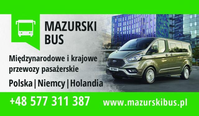 Logo Mazurski Busem z Niemiec do Polski